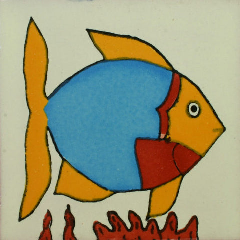 Traditional Decorative Mexican tile - Angel Fish