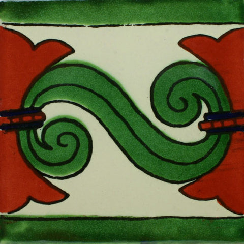 Mexican Tile-Border with white, green and terra cotta
