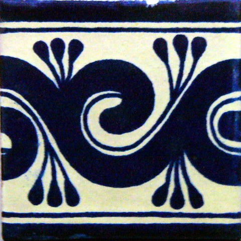 Mexican Tile_Border Decorative in cobalt blue and off-white