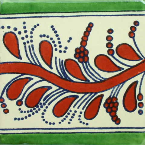 Mexican Tile-Border Decorative-Terra Cotta and Green