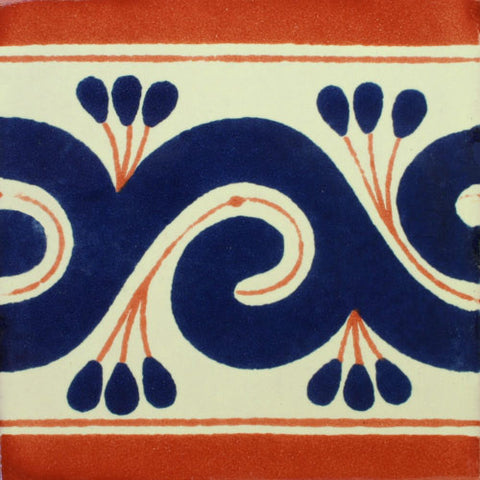 Mexican Tile-Border Decorative-cobalt blue and terra cotta