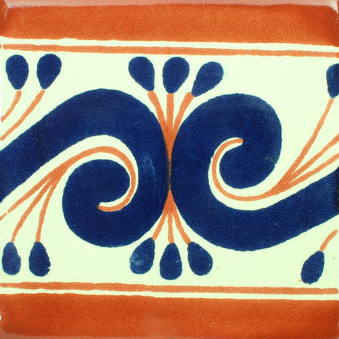 Mexican Tile-Border Decorative-Terra Cotta and cobalt blue