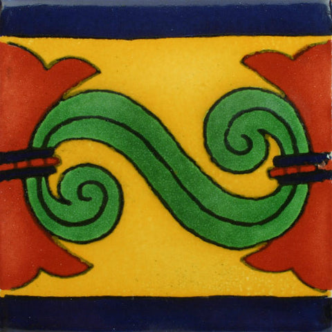 Mexican Tile-Border in blue, gold, green