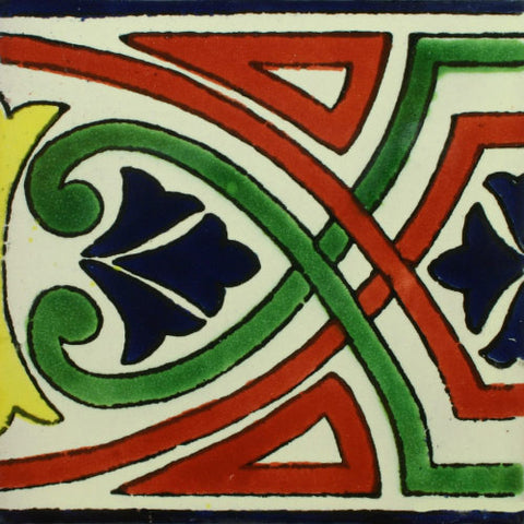 Mexican Tile-Border Decorative-Green, Red, and Blue