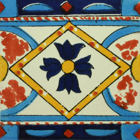 Mexican Tile-Border in blue and terra cotta