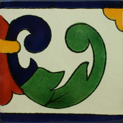 Mexican Tile-Border Decorative-Cobalt Blue and Yellow