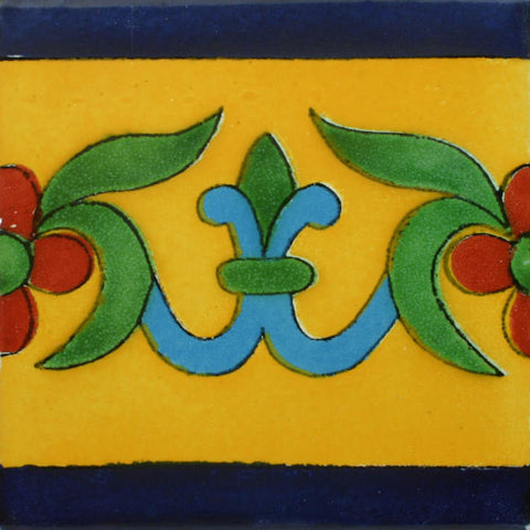 Mexican Tile -Border Decorative-Yellow and Cobalt blue