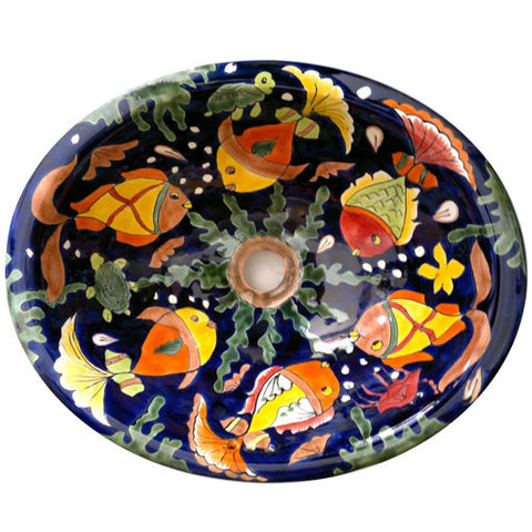 Traditional Talavera Mexican Sink with Fish