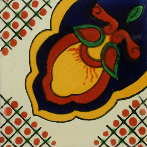 Mexican Tile-Border with green and terra cotta flowers