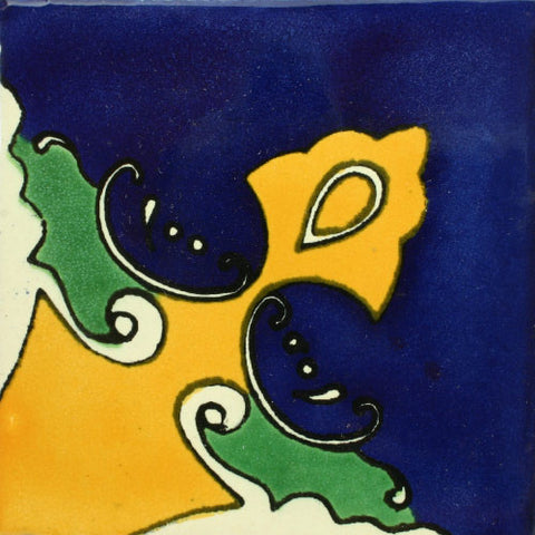 Mexican Corner Tile-Border Decorative-Yellow and blue