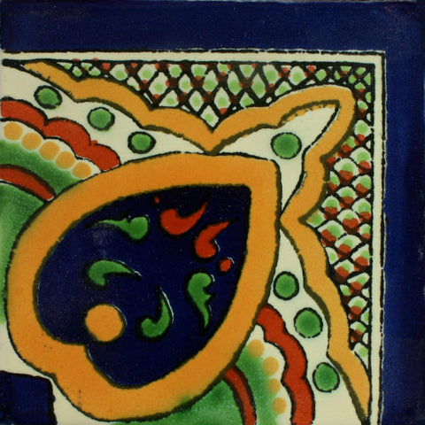 Traditional Mexican Border Tile - Guia Alborada, Corner