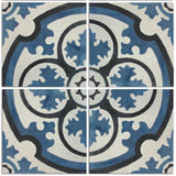 4 tile array circular design encaustic cement tile