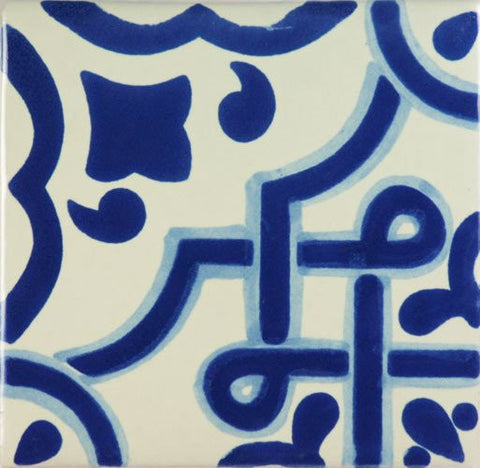 blue design Mexican style pool tile