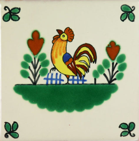 Espcecial ceramic Mexican decorative tile - rooster