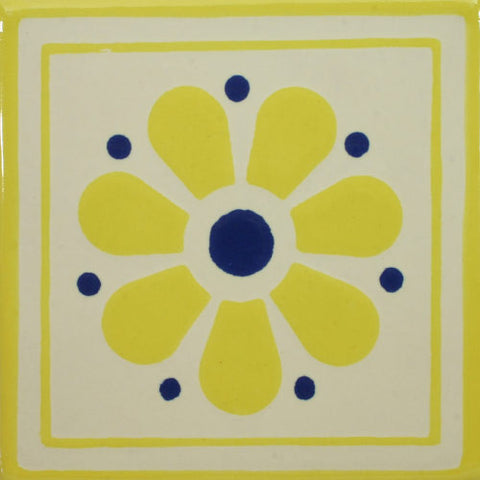 Yellow daisy Mexican decorative tile