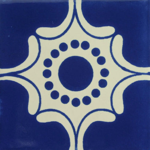 Especial ceramic Mexican decorative tile - arabesque azul