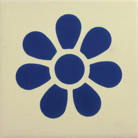 Especial ceramic Decorative Mexican Tile - blue daisy