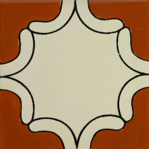 Especial ceramic Mexican decorative tile - arabesque terra cota