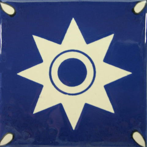 Especial ceramic Mexican decorative tile - star