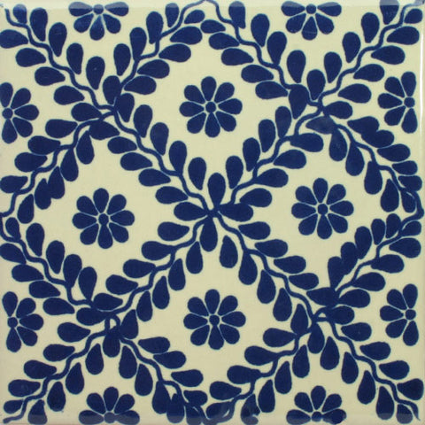 Blue and white pattern ceramic Mexican tile