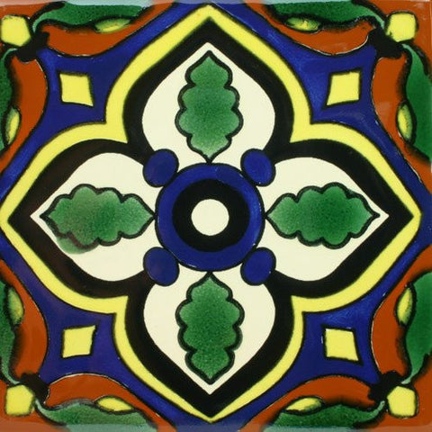 Bold Mexican ceramic pool tile