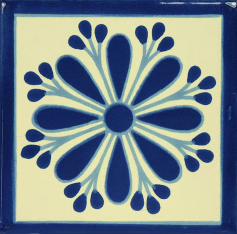 Blue and White ceramic Mexican decorative tile