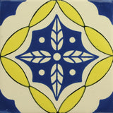 Espcecial ceramic Mexican decorative tile - hojas cruzadas