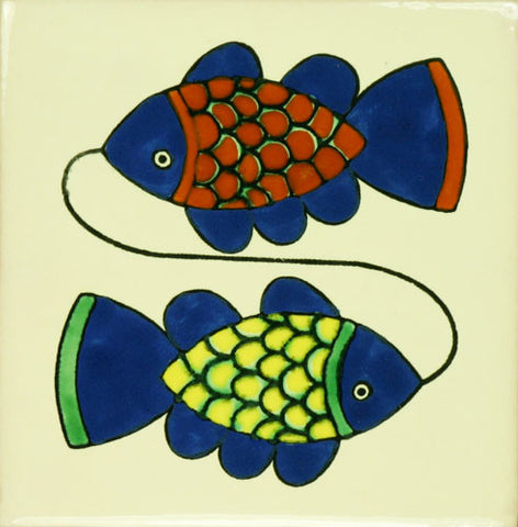 Espcecial ceramic Mexican decorative tile - two fish