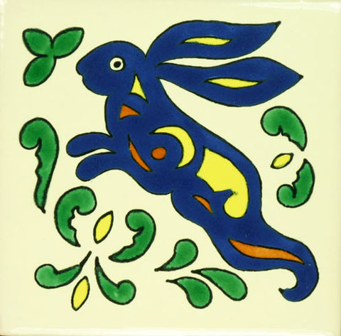 Especial ceramic Decorative Spanish Tile - blue rabbit