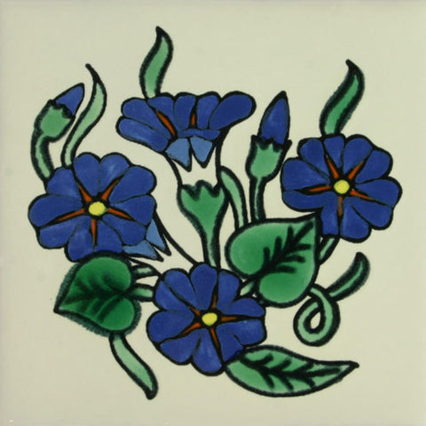 Especial ceramic Decorative Spanish Tile - blue flowers