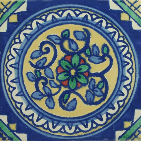 Ceramic Mexican Tile - Circle of Flowers