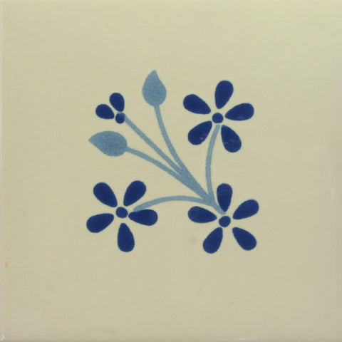 Especial ceramic Mexican decorative tile - flligrana azul