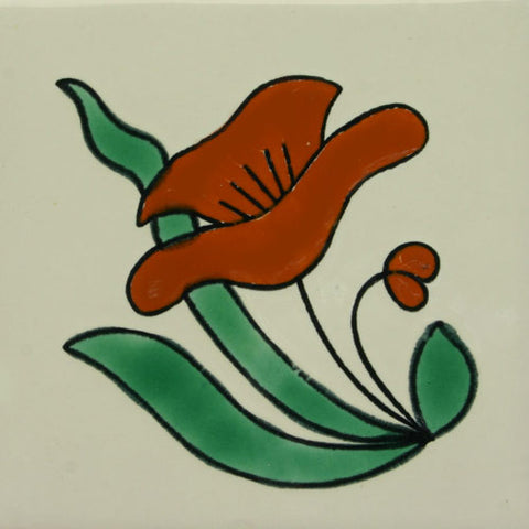Especial ceramic Spanish decorative tile - red flower