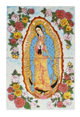 Tile mural of Virgen de Guadalupe with roses