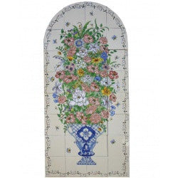 Floral bouquet tile mural with arch