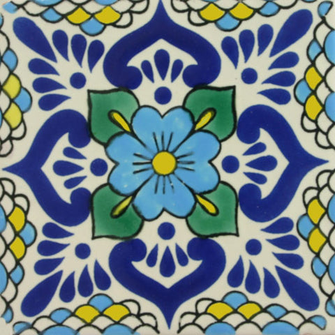 Blue floral ceramic Mexican tile