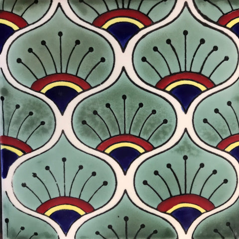 Porcelain Peacock feathers Mexican tile