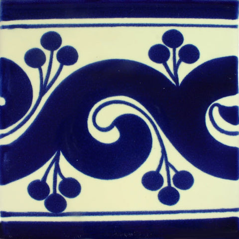 Porcelain Decorative Mexican Tile - Greca Azul