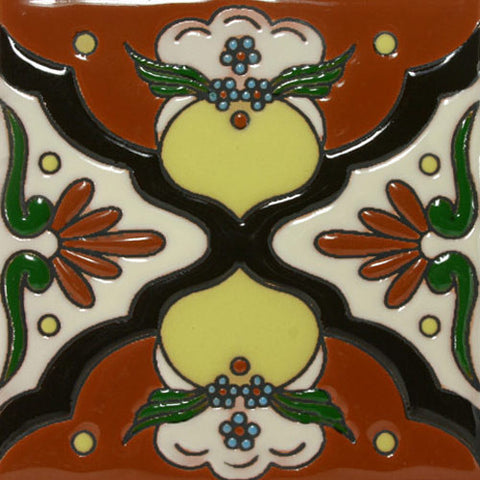 Raised relief Mexican hand painted tile