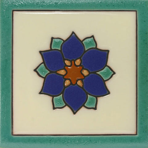 Raised relief floral Mexican tile