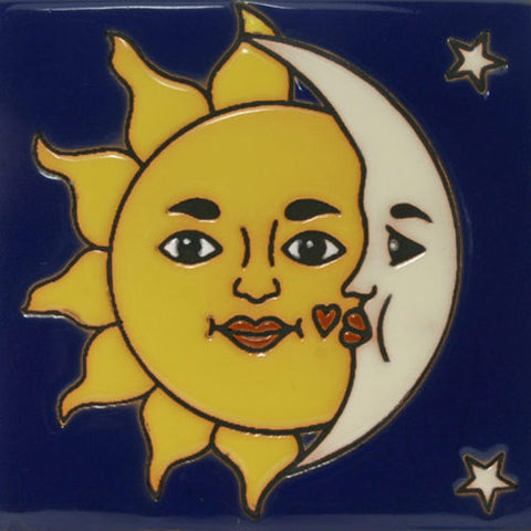 Raised relief sun and moon tile