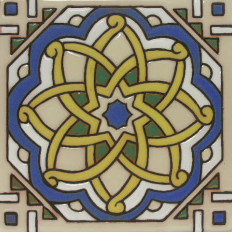 Hand painted Moorish tile