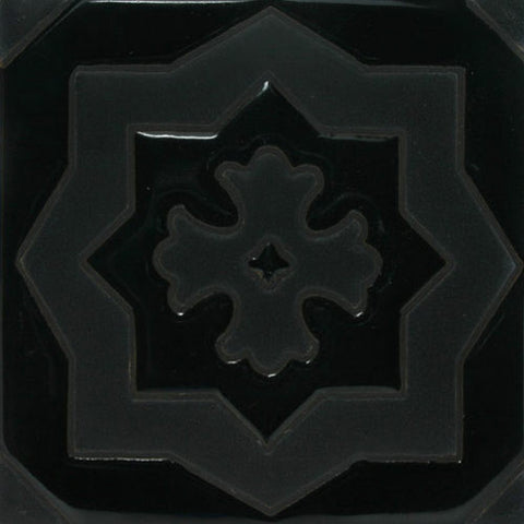 black raised relief tile