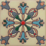 Hand painted raised-relief tile