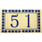 Blue diamond pattern house numbers