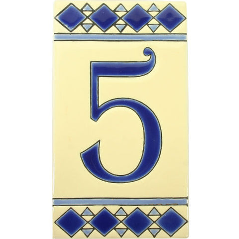Blue diamond house number tile