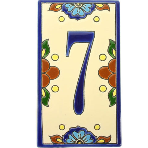 Flor Azul Mexican Tile Numbers