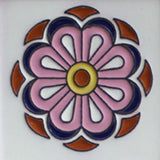 Hand painted raised relief tile