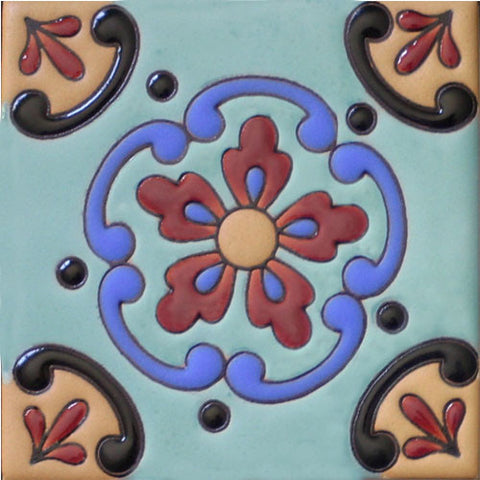 Raised relief hand painted Mexican tile