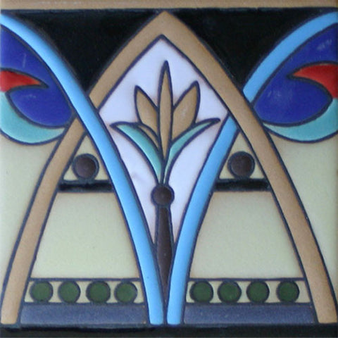 Raised relief Art Deco style tile